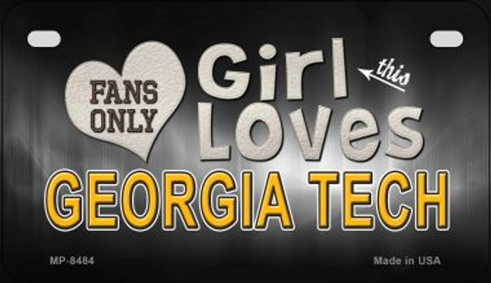 This Girl Loves Her Georgia Tech Novelty Metal Motorcycle Plate MP-8484