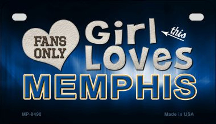 This Girl Loves Her Memphis Novelty Metal Motorcycle Plate MP-8490