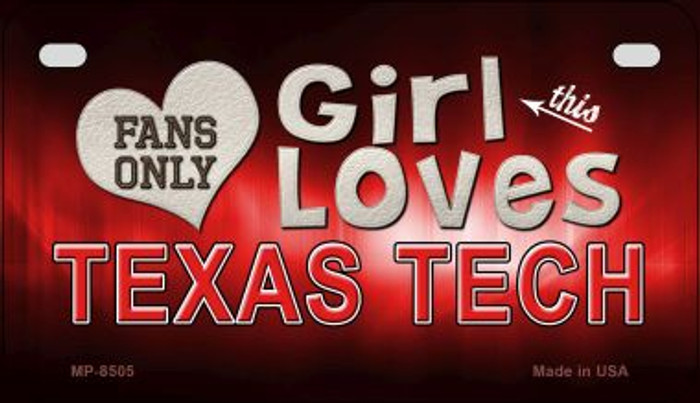 This Girl Loves Her Texas Tech Novelty Metal Motorcycle Plate MP-8505