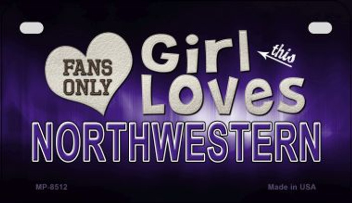 This Girl Loves Her Northwestern Novelty Metal Motorcycle Plate MP-8512
