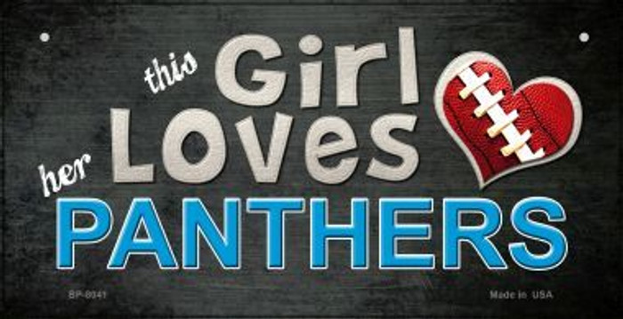 This Girl Loves Her Panthers Novelty Metal Bicycle Plate BP-8041