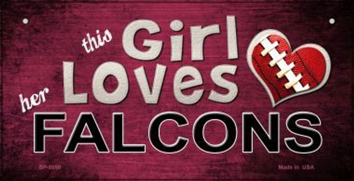 This Girl Loves Her Falcons Novelty Metal Bicycle Plate BP-8050