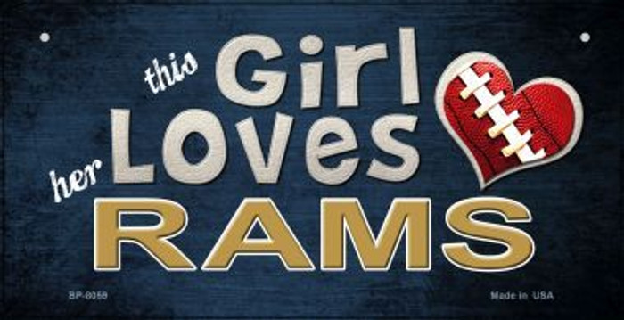 This Girl Loves Her Rams Novelty Metal Bicycle Plate BP-8059