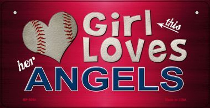 This Girl Loves Her Angels Novelty Metal Bicycle Plate BP-8064