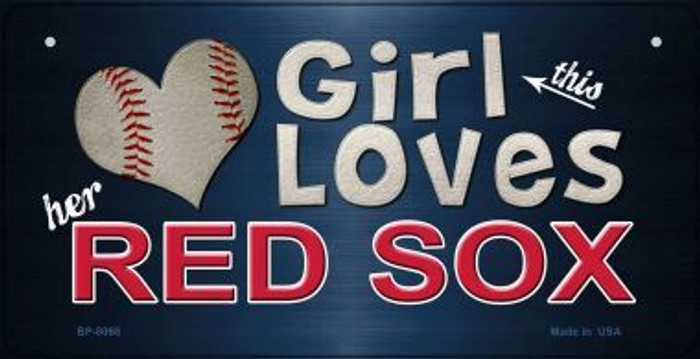 This Girl Loves Her Red Sox Novelty Metal Bicycle Plate BP-8068