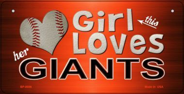 This Girl Loves Her Giants Novelty Metal Bicycle Plate BP-8086