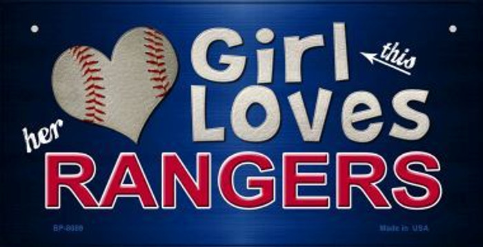 This Girl Loves Her Rangers Novelty Metal Bicycle Plate BP-8089