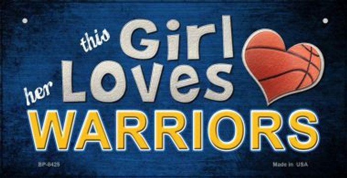 This Girl Loves Her Warriors Novelty Metal Bicycle Plate BP-8425