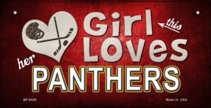 This Girl Loves Her Panthers Novelty Metal Bicycle Plate BP-8449