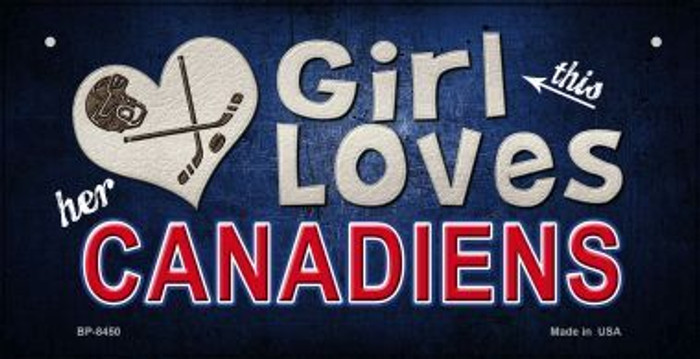 This Girl Loves Her Canadiens Novelty Metal Bicycle Plate BP-8450