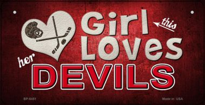 This Girl Loves Her Devils Novelty Metal Bicycle Plate BP-8451