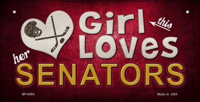 This Girl Loves Her Senators Novelty Metal Bicycle Plate BP-8454