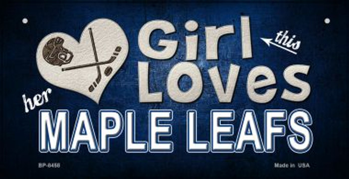 This Girl Loves Her Maple Leafs Novelty Metal Bicycle Plate BP-8458
