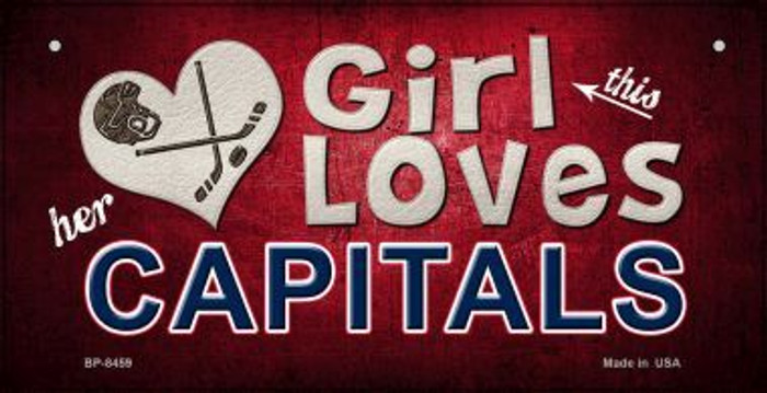 This Girl Loves Her Capitals Novelty Metal Bicycle Plate BP-8459