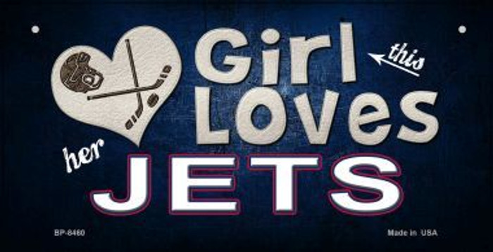 This Girl Loves Her Jets Novelty Metal Bicycle Plate BP-8460