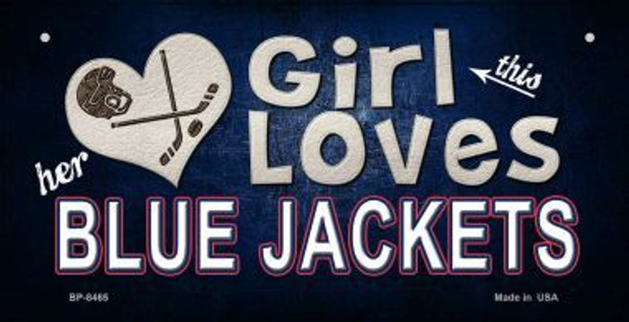 This Girl Loves Her Blue Jackets Novelty Metal Bicycle Plate BP-8465