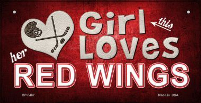 This Girl Loves Her Red Wings Novelty Metal Bicycle Plate BP-8467