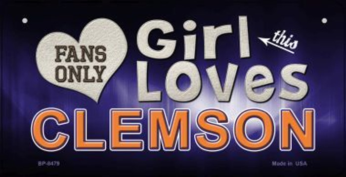 This Girl Loves Her Clemson Novelty Metal Bicycle Plate BP-8479