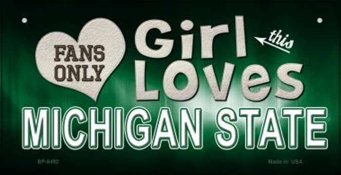 This Girl Loves Her Michigan State Novelty Metal Bicycle Plate BP-8492