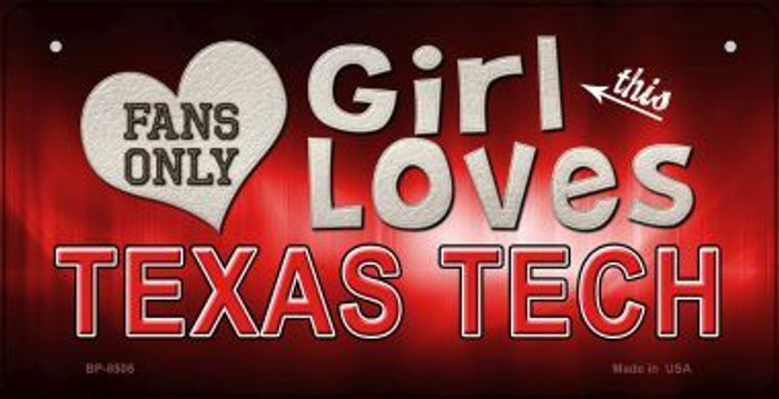 This Girl Loves Her Texas Tech Novelty Metal Bicycle Plate BP-8505