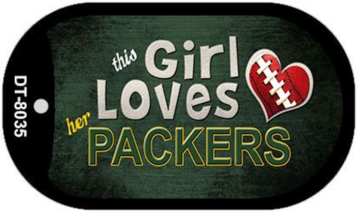 This Girl Loves Her Packers Novelty Metal Dog Tag Necklace DT-8035