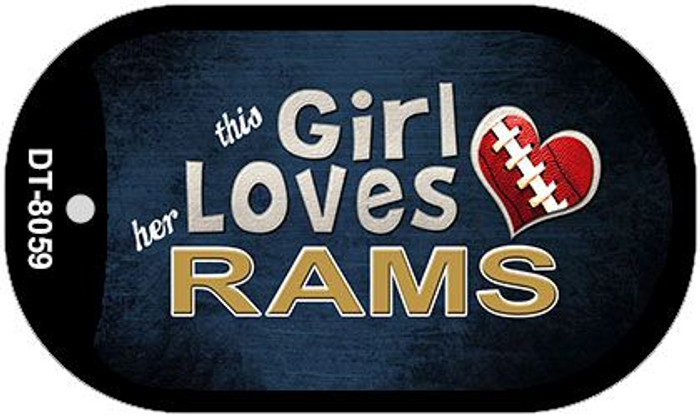 This Girl Loves Her Rams Novelty Metal Dog Tag Necklace DT-8059