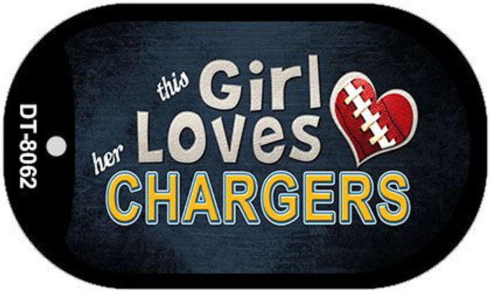 This Girl Loves Her Chargers Novelty Metal Dog Tag Necklace DT-8062