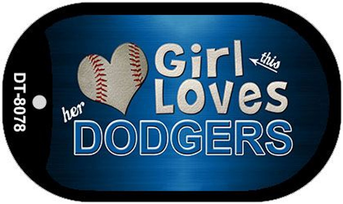 This Girl Loves Her Dodgers Novelty Metal Dog Tag Necklace DT-8078
