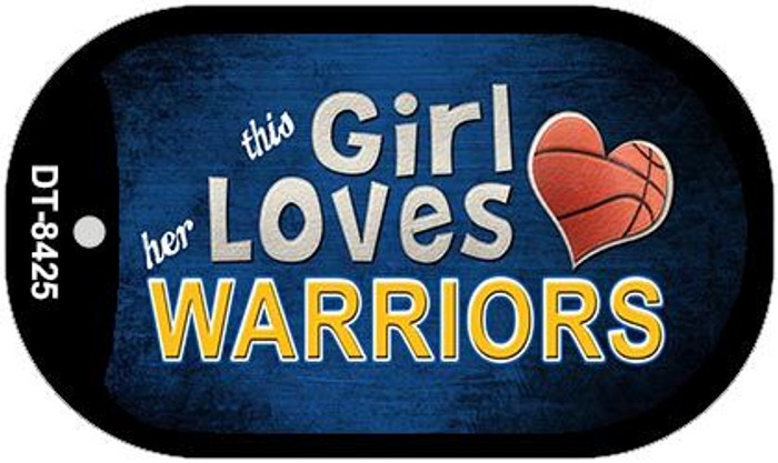 This Girl Loves Her Warriors Novelty Metal Dog Tag Necklace DT-8425