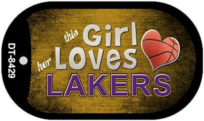 This Girl Loves Her Lakers Novelty Metal Dog Tag Necklace DT-8429