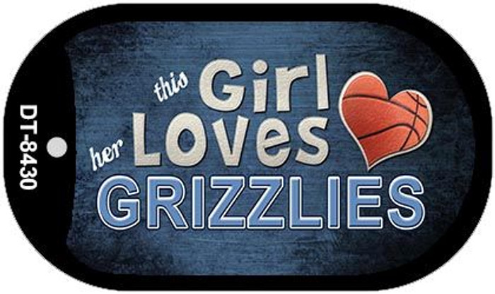 This Girl Loves Her Grizzlies Novelty Metal Dog Tag Necklace DT-8430