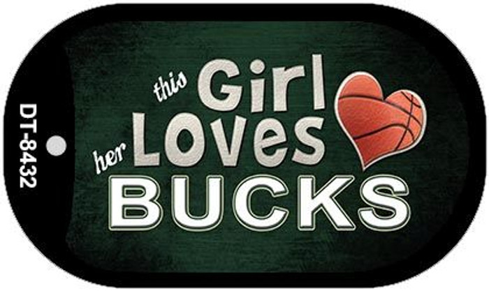 This Girl Loves Her Bucks Novelty Metal Dog Tag Necklace DT-8432
