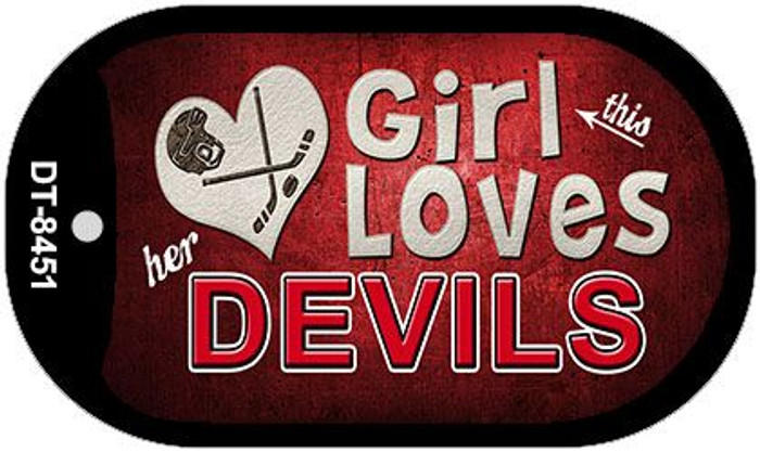 This Girl Loves Her Devils Novelty Metal Dog Tag Necklace DT-8451