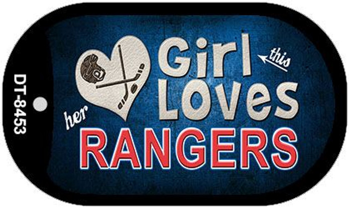 This Girl Loves Her Rangers Novelty Metal Dog Tag Necklace DT-8453