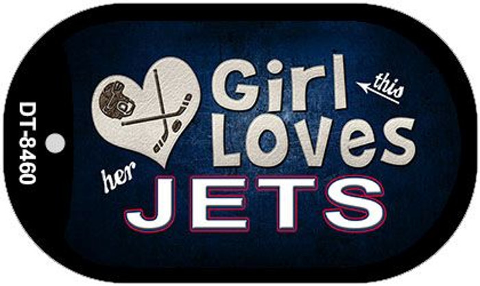 This Girl Loves Her Jets Novelty Metal Dog Tag Necklace DT-8460