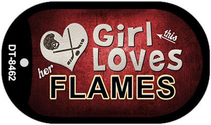 This Girl Loves Her Flames Novelty Metal Dog Tag Necklace DT-8462