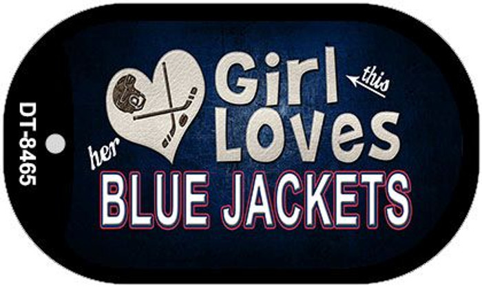 This Girl Loves Her Blue Jackets Novelty Metal Dog Tag Necklace DT-8465