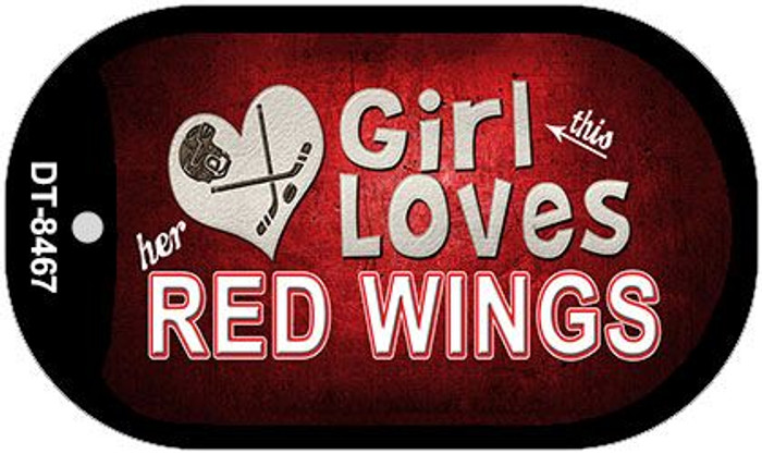 This Girl Loves Her Red Wings Novelty Metal Dog Tag Necklace DT-8467