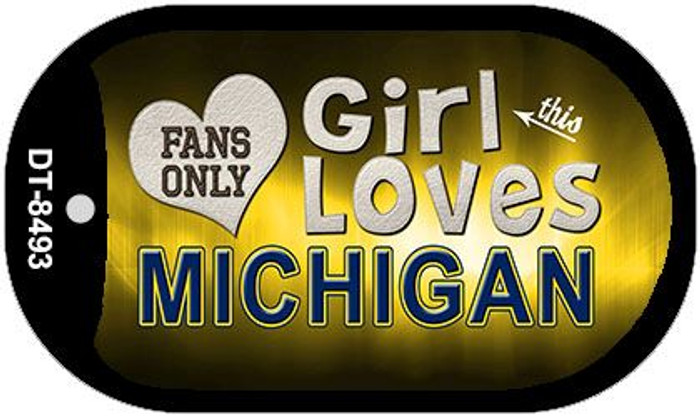This Girl Loves Her Michigan Novelty Metal Dog Tag Necklace DT-8493