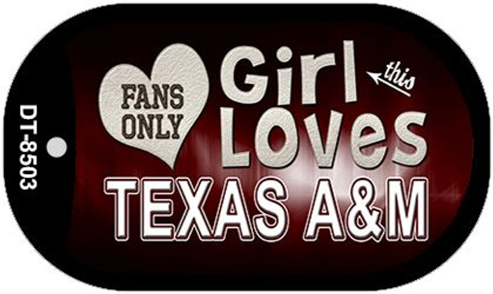 This Girl Loves Her Texas A&M Novelty Metal Dog Tag Necklace DT-8503