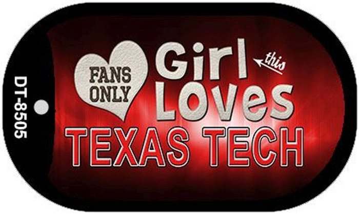 This Girl Loves Her Texas Tech Novelty Metal Dog Tag Necklace DT-8505