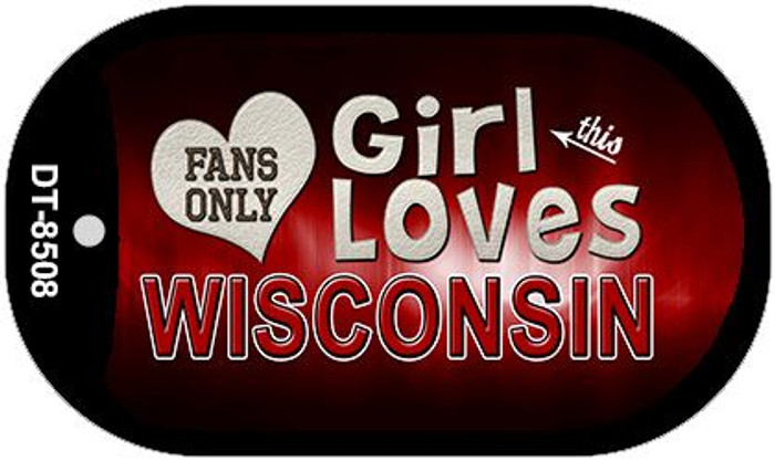 This Girl Loves Her Wisconsin Novelty Metal Dog Tag Necklace DT-8508