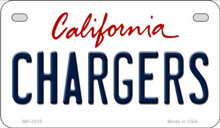 Chargers California Novelty Metal Motorcycle Plate MP-2035