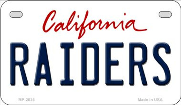 Raiders California Novelty Metal Motorcycle Plate MP-2036