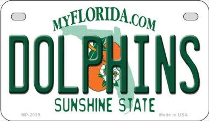 Dolphins Florida Novelty Metal Motorcycle Plate MP-2039