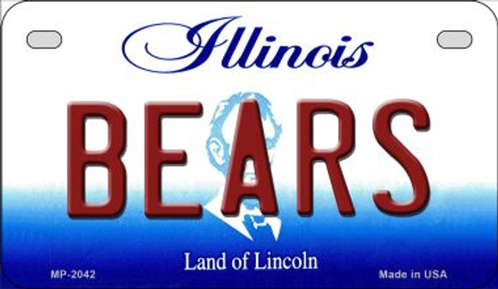 Bears Illinois Novelty Metal Motorcycle Plate MP-2042