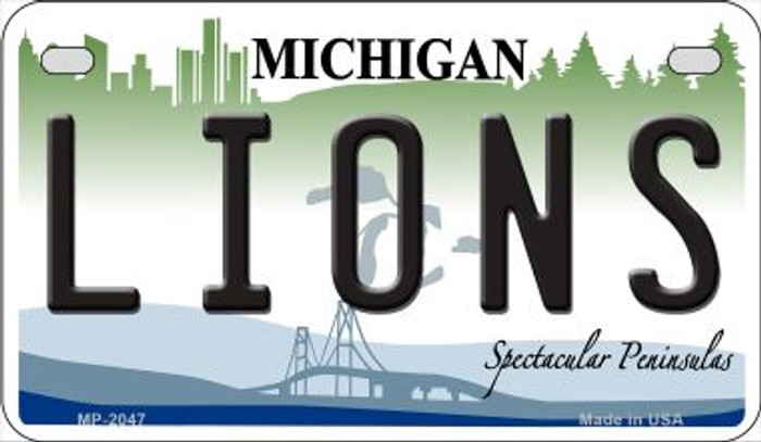 Lions Michigan Novelty Metal Motorcycle Plate MP-2047