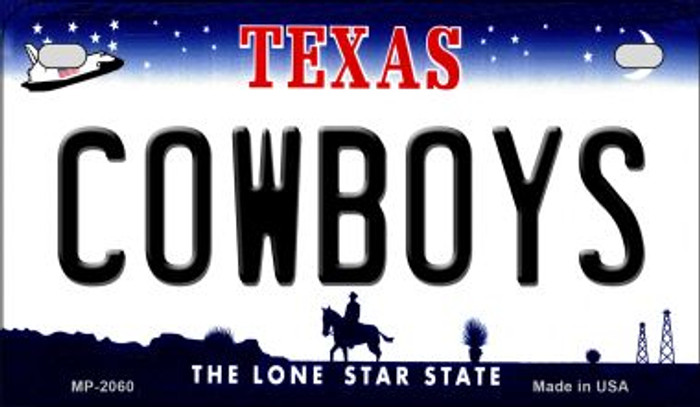 Cowboys Texas Novelty Metal Motorcycle Plate MP-2060