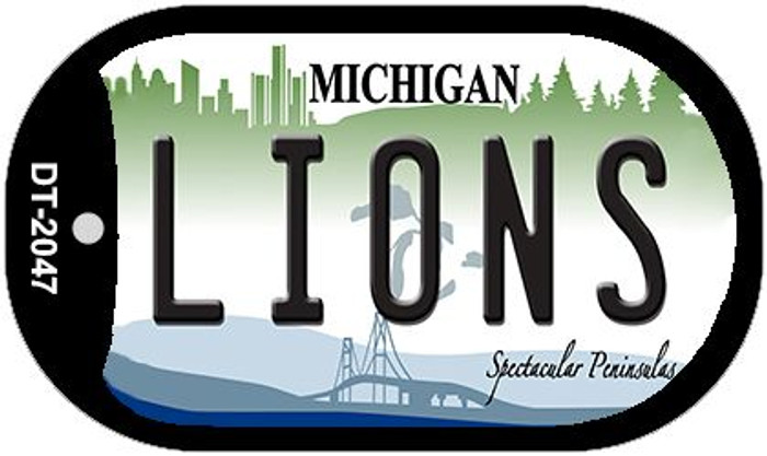 Lions Michigan Novelty Metal Dog Tag Necklace DT-2047