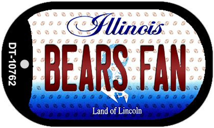 Bears Fan Illinois Novelty Metal Dog Tag Necklace DT-10762